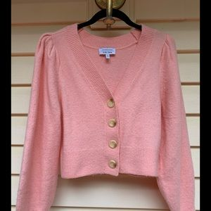 Atelier & Other Stories pink/light coral fluffy V neck sweater, front buttons, S